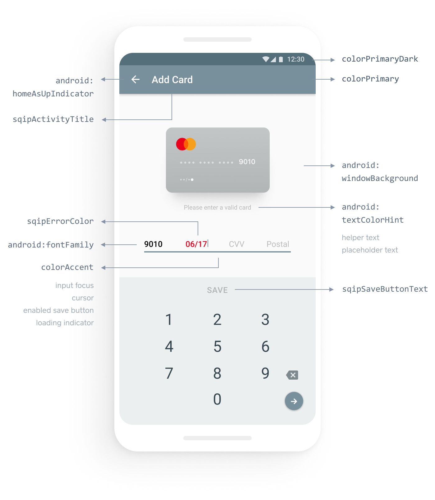 Android payment form with customizeable properties