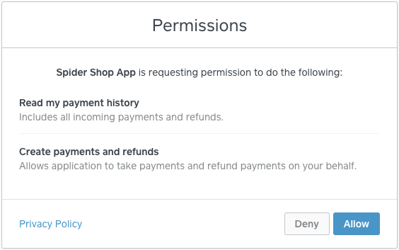 Oauth permission form