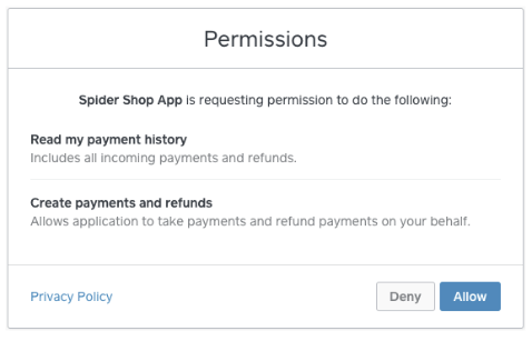 Oauth permissions screen